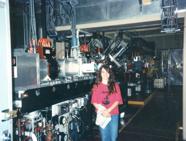 Kari Rawluk (Kari S. Sanders, Kari Sanders) at Brookhaven National Laboratory's AGS Linear Accelerator, near the Hydrogen ion source in Upton New York, 1992