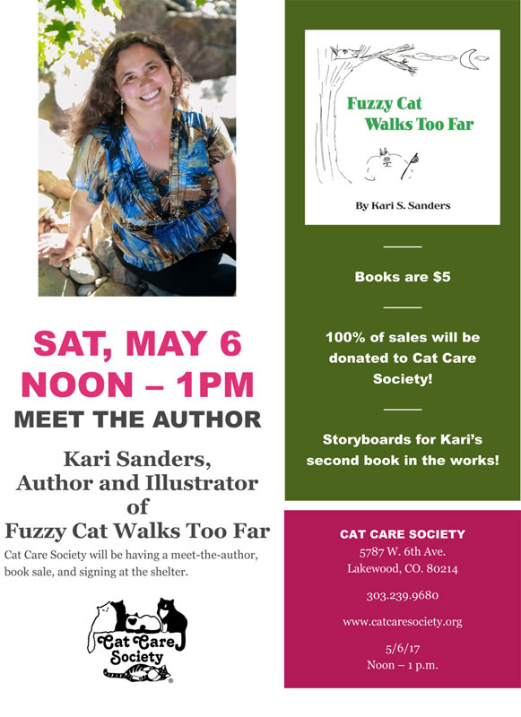 Book Signing for Fuzzy Cat Walks Too Far by Kari S. Sanders and the Cat CAre Society
